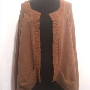 Sweaters - Wool Open Cardigan Pumpkin